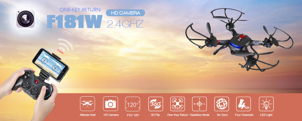 , Review of Holy Stone F181W Wifi FPV Drone with 720P Wide-Angle HD Camera Live Video RC Quadcopter with Altitude Hold, Gravity Sensor Function, RTF and Easy to Fly for Beginner, Compatible with VR Headset