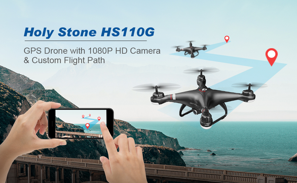 gps drone with 1080p HD camera and custom flight path