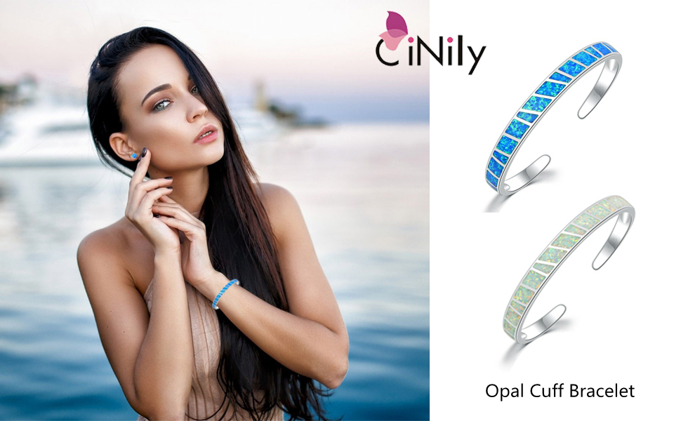 White Gold Opal Cuff Bangle Bracelets