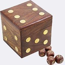 Amazon Com Skavij 5 Pieces Game Dice Set Wooden Handmade D6 Cube