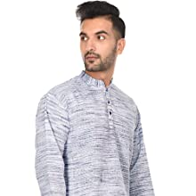 da32b16a0 SKAVIJ Men's Short Kurta Full Sleeve Casual Button Down Cotton Tunic ...