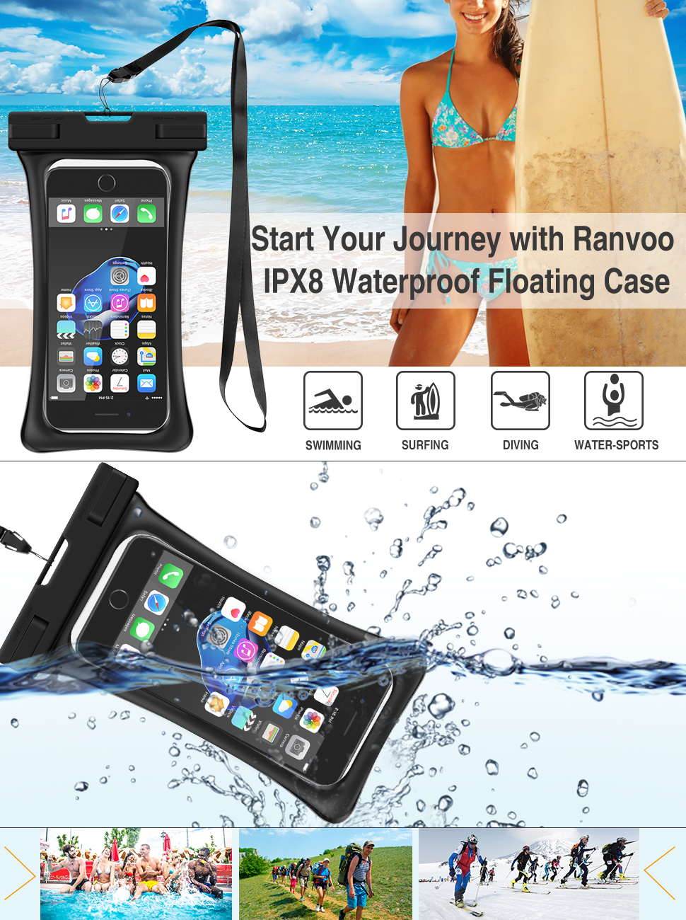 RANVOO [Floating] Waterproof Phone Pouch, Dry Bag Case for iPhone XS Max XR  X 8 Plus 7 Plus 6 6s Plus, Samsung Galaxy S9 Plus S8 Edge Note 8 7, LG G5