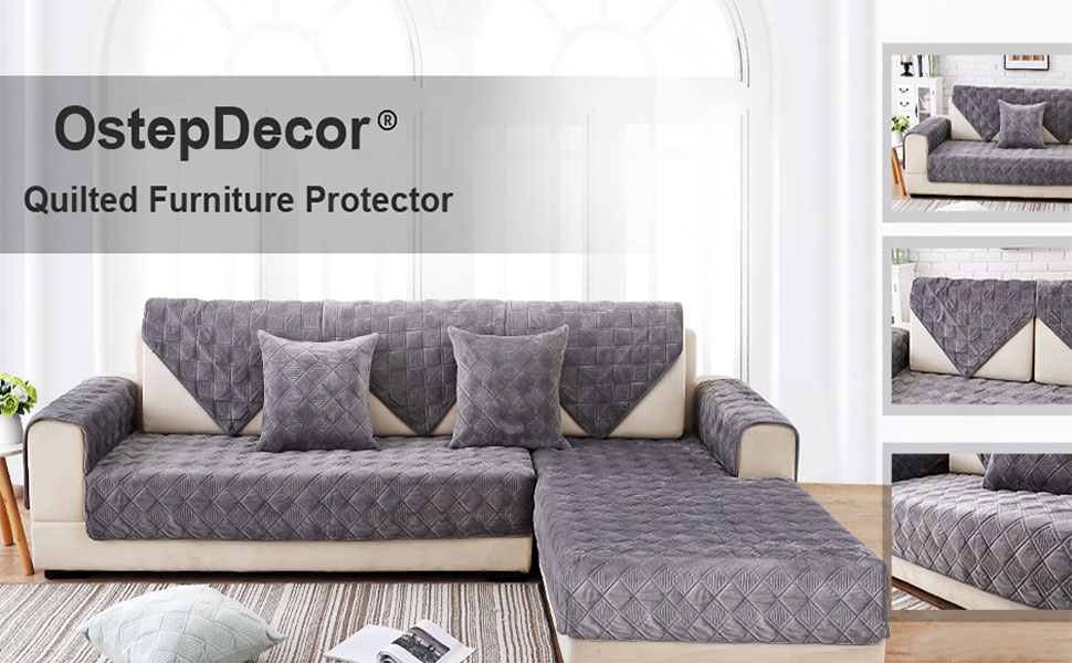 OstepDecor Quilted Furniture Protector for Sofa, Loveseat, Recliner, Chair - Couch Slipcover for Pets & Kids - 1 Piece - Backing and Armrest Sold ...