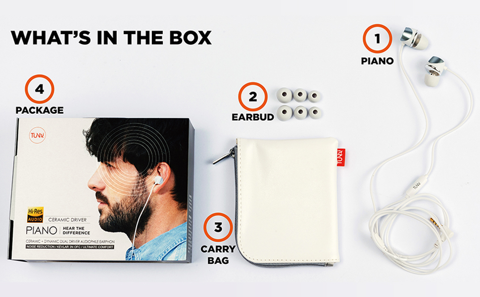 Tunai Piano Audiophile Earphones - Hi-Res Earbuds with Dual Drivers for Incredible Balanced Sound