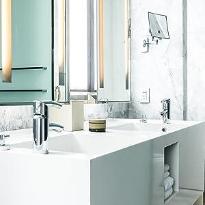 HOMEPLUZ Square Refillable Wall-Mount Shampoo Conditioner Dispenser (Gunmetal 3 Chambers