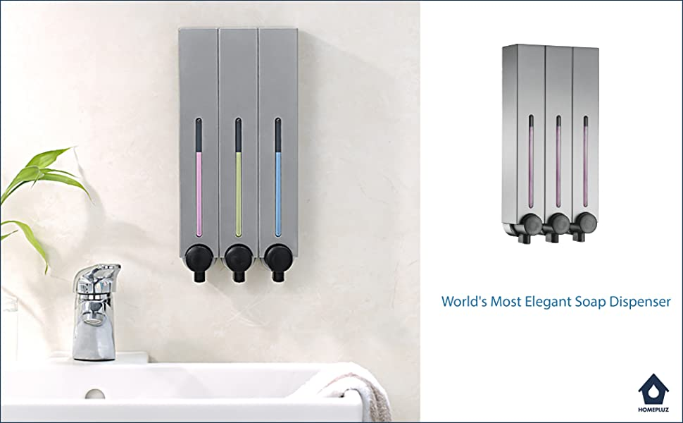 Homepluz Square is a reliable and refillable wall mounted soap dispenser designed