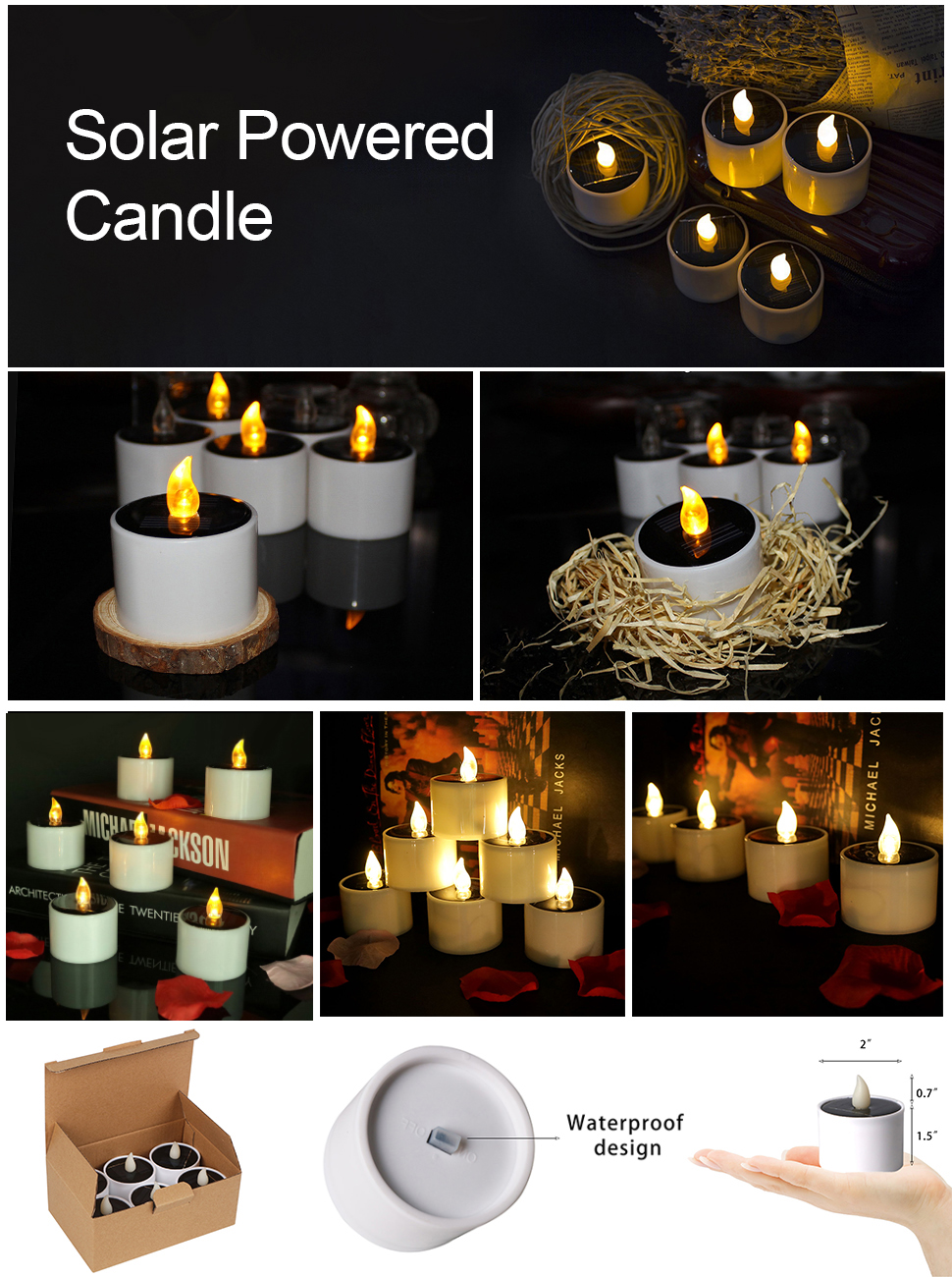 Micandle 6 Pack Outdoor Solar Candles/Long Lasting Using,Flameless Solar Tealights Candles for Camping,Home,Window,Yard Decor(Charged 4-8 Hours Can Use 5-10 Hours) in Yellow