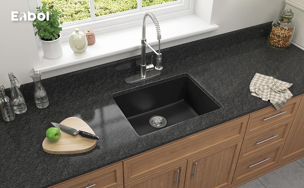 Enbol GSS-2418 24 inch Single Bowl Undermount Granite Kitchen Sink ...
