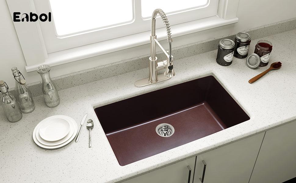 Enbol 31 Inch Single Bowl Undermount Granite Kitchen Sink GSS-3118 ...
