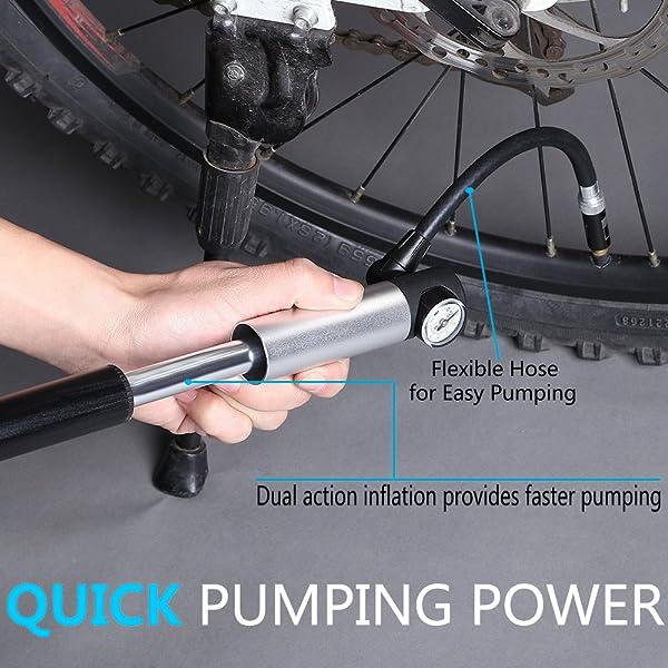RockBros Silver Mini Bike Pump Ball Inflator One-way Presta Schrader Dual 100psi