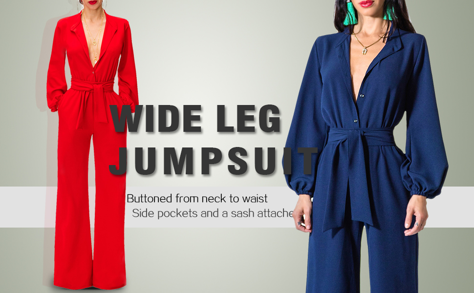 772b506a3b8c Paitluc Women Sexy V-Neck Lantern Sleeve Belted Wide Leg Long Pant Formal  Jumpsuits