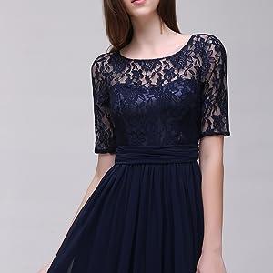 vestido para dama de honor falda de c/óctel Aox Women Vestido de gasa floral de encaje para dama de honor fiesta de noche