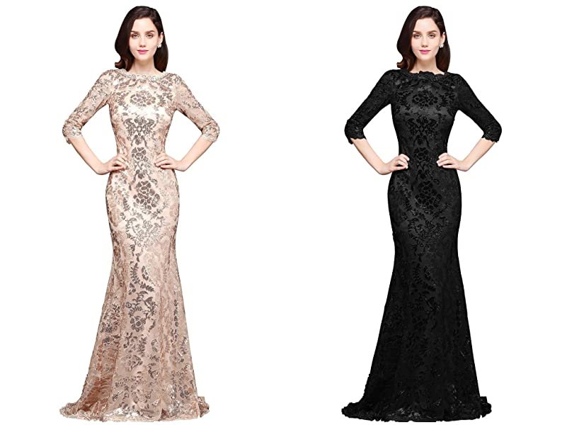 Womens 3/4 Sleeve Sequin Mermaid Evening Dress Long Formal Dresses