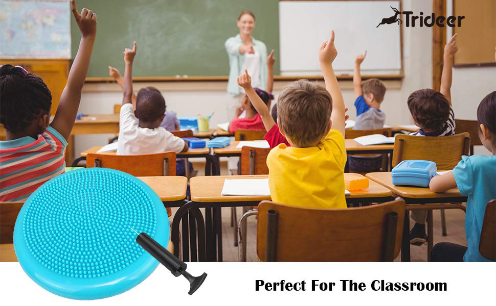 Trideer Inflated Stability Wobble Cushion with Pump(Multiple Colors),Extra Thick Flexible Seating Classroom, Core Balance Disc, Wiggle Seat for ...