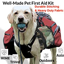 Dog carrying a Pet First Aid Kit