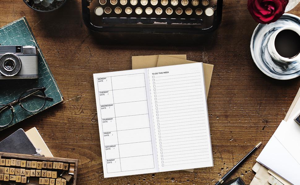 RICCO BELLO Aventura Travelers Notebook Weekly To Do Calendar Refill