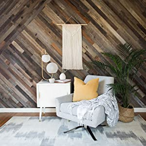 10 Sq Ft, Whitewashed Barn Wood Epic Artifactory Reclaimed Barn Wood Wall Panel Easy Peel and Stick Application