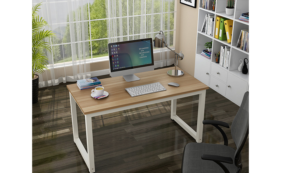 Gootrades Computer Table,47u0027u0027 Sturdy Office Desk Study Writing Desk,Modern  Simple Style PC Workstation Table For Home Office