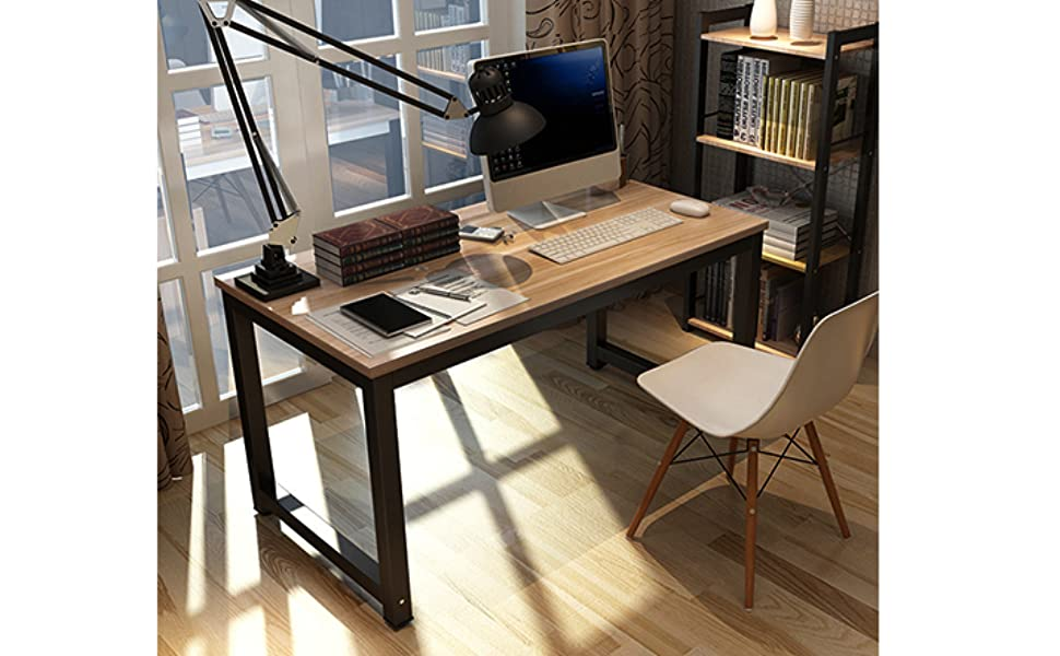 simple office desk. Gootrades Computer Table, 47\u0027\u0027 Sturdy Office Desk Study Writing Desk, Modern Simple Style PC Workstation Table For Home
