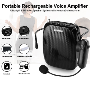power amplifier electro voice  ZOWEETEK Voice Amplifier with UHF Wireless Microphone Headset, 10W 1800mAh Portable Rechargeable PA system Speaker for Multiple Locations such as Classroom, Meetings, Promotions and Outdoors c7d71f6e d9eb 44be b693 3210839557f7
