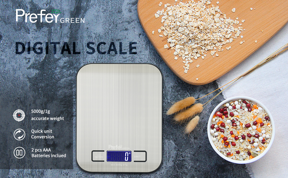 Prefer Green Digital Kitchen Scale Multifunction Food Scale, Stainless Steel, Silver, 11lb/5kg (Batteries Included)