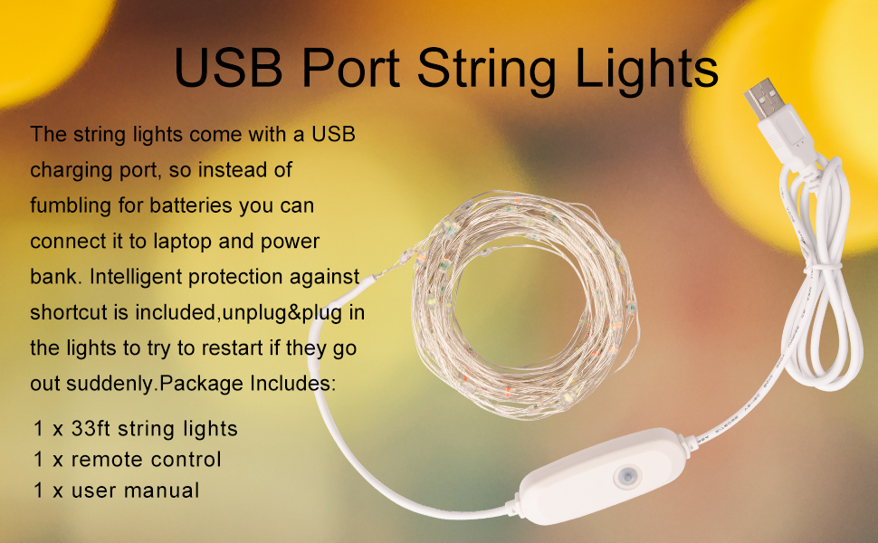 Prefer Green 39ft 120 LED USB Plug-in String Lights 8 Modes Indoor & Outdoor
