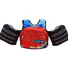 red swim float vest
