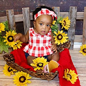 26a5c7b99ec0 Baby Girls Plaid Ruffle Bowknot Tank Top+Denim Shorts Outfit with Headband