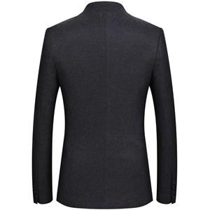75473260bf893 Mandarin Collar Blazer Jacket for Men Smart Casual Wool Tweed Sports ...