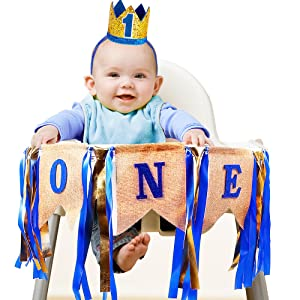 Highchair Burlap Banner with Shiny Blue and Gold Ribbons