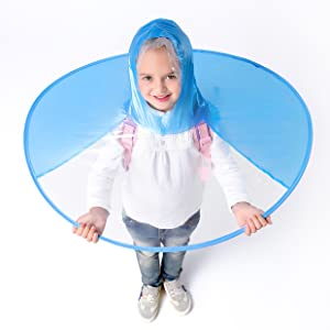 Y-Nut UFO Raincoat, Large for Kids Adults, Saucer Poncho Head Umbrella Novelty Headwear Cap Hat Rainwear for Children