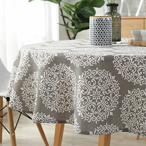 gray medallion round tablecloth