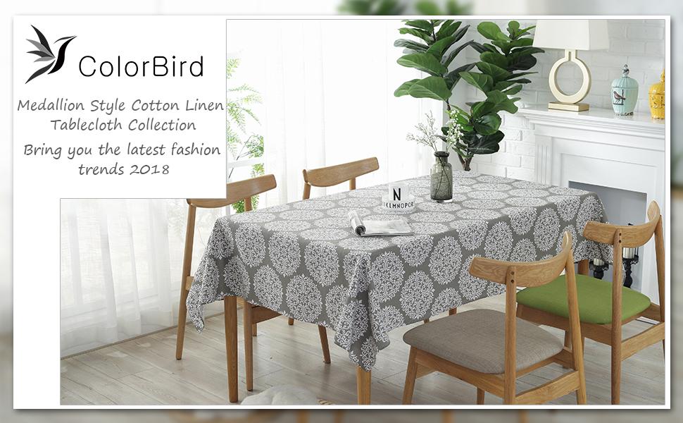 gray medallion tablecloth