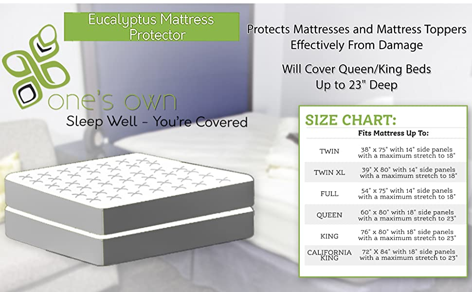 mattress protector organic eucalyptus cover queen king size bed