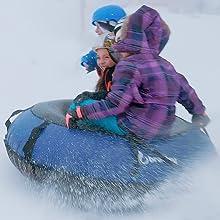 girls on snow tube