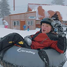 snow tube in use
