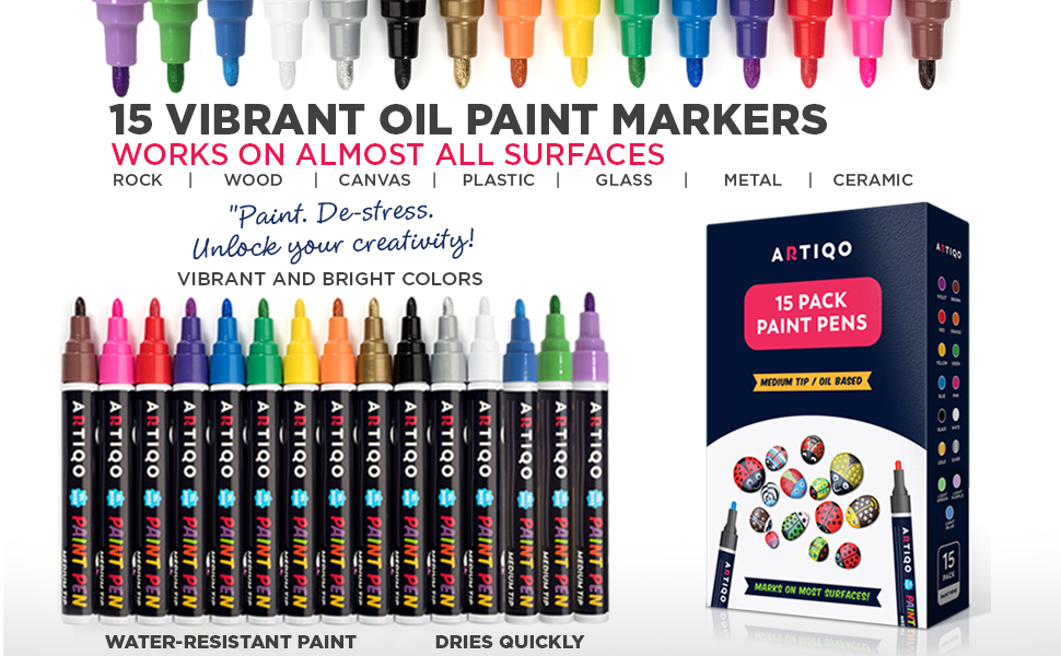 Paint Pens For Rock Painting Wood Glass Metal And Ceramic Works On Almost All Surfaces Set Of 15 Vibrant Medium Tip Oil Paint Marker Pens Quick