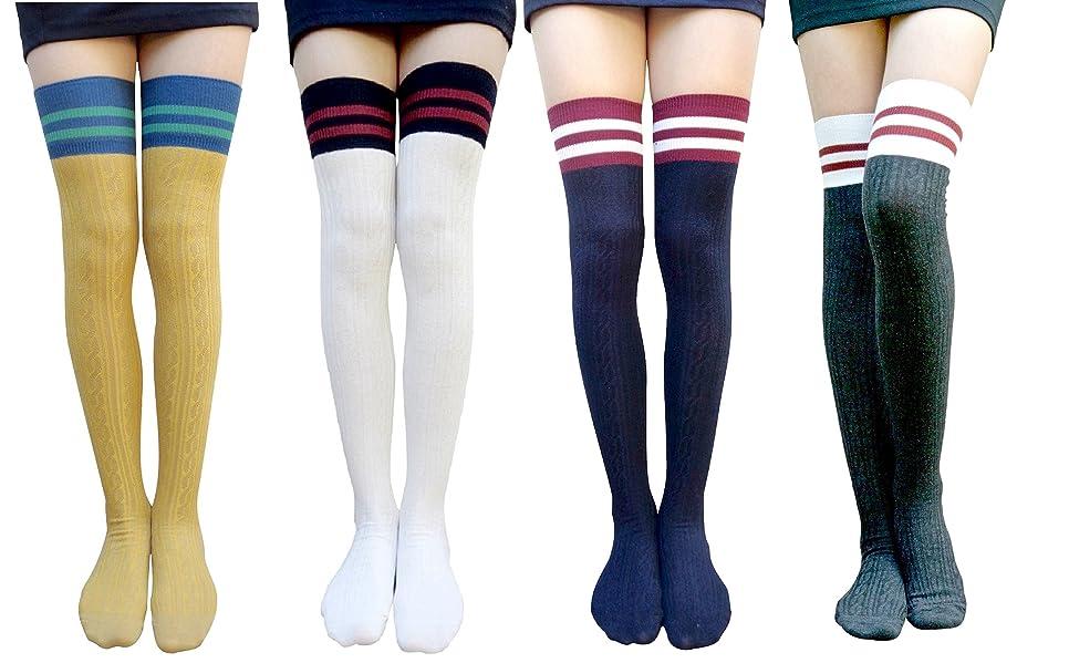 909e392b0 AM Landen Super Cute Women s Black Over Knee Socks Thigh Socks Lace ...
