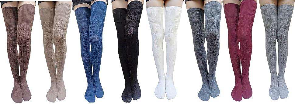 34b793cf55a AM Landen Cotton Thigh High Socks Over Knee High Socks Leg Warmer ...