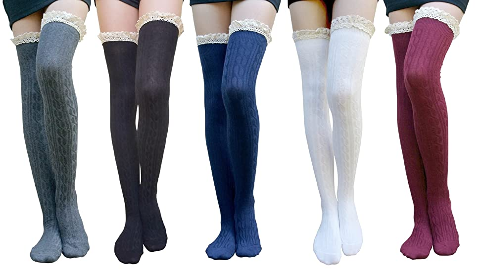 968a082105c AM Landen Gothic Lolita Thigh High Socks Over Knee Socks Women Lace Sexy  Stockings