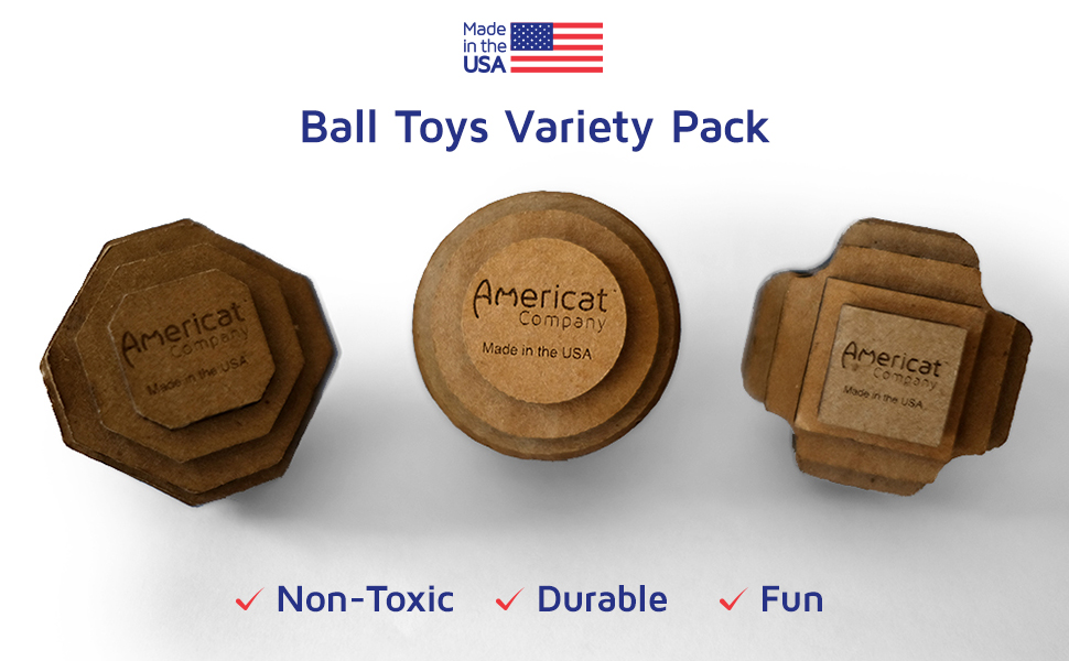 Americat Company Made in USA cat ball toys interactive bestsellers independent play hut chase bat