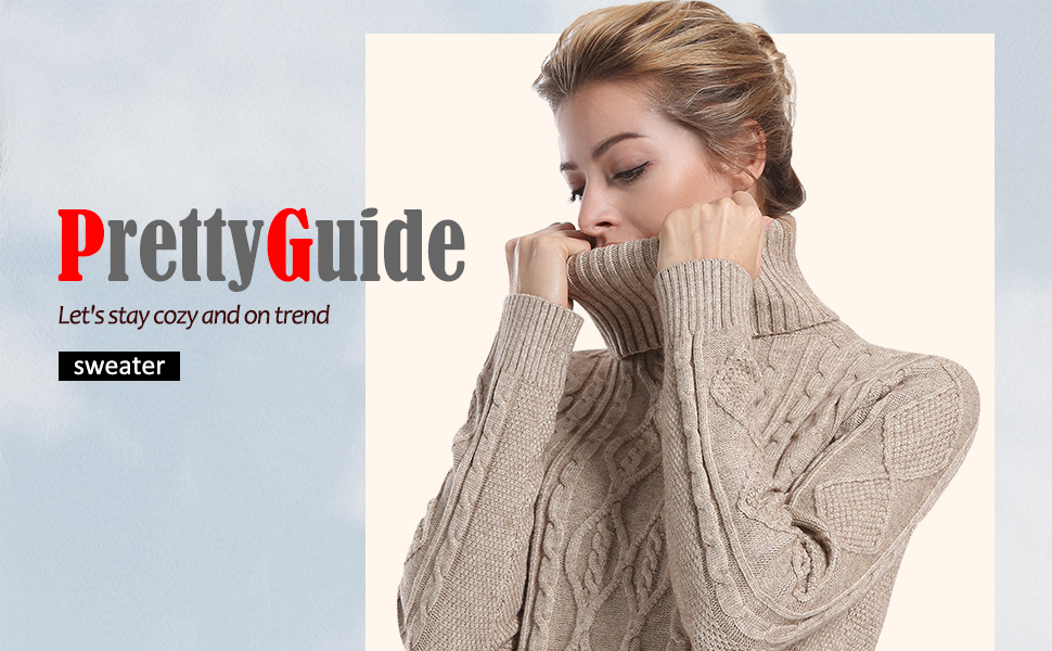 05f30eabf PrettyGuide Women s Long Sweater Turtleneck Cable Knit Tunic Sweater ...
