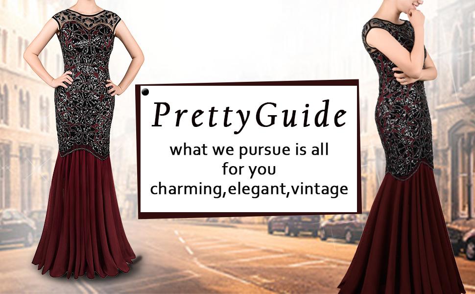 c329aca022 Amazon.com  PrettyGuide Women  s 1920s Black Sequin Gatsby Maxi Long ...