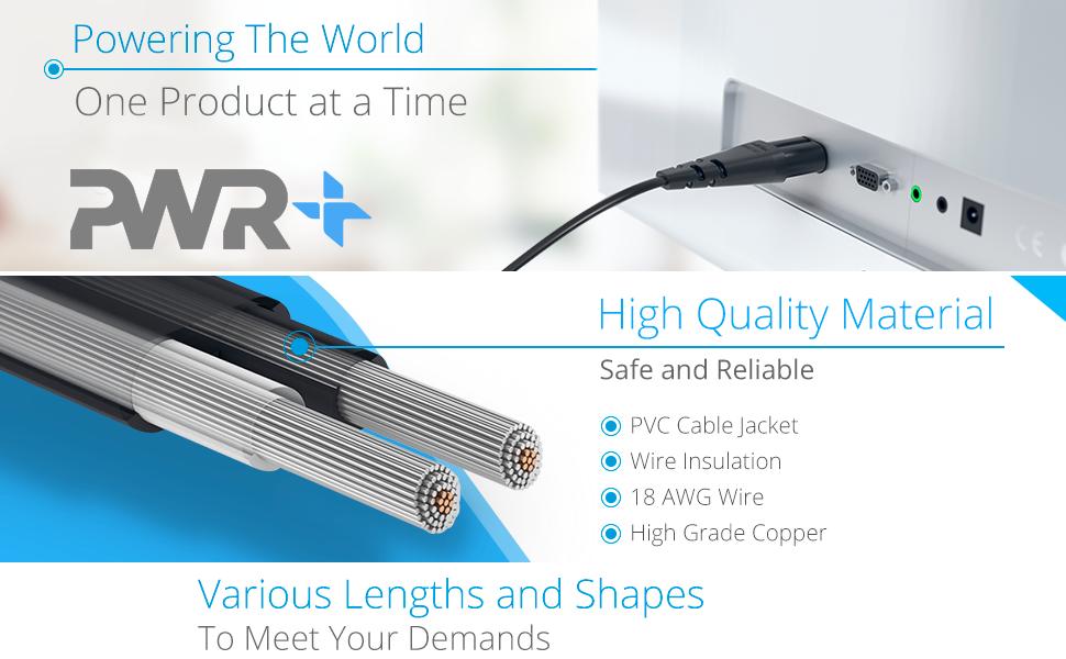 Amazon.com: PWR + 6 ft AC Wall de 2 Clavijas Cable Cable de ...