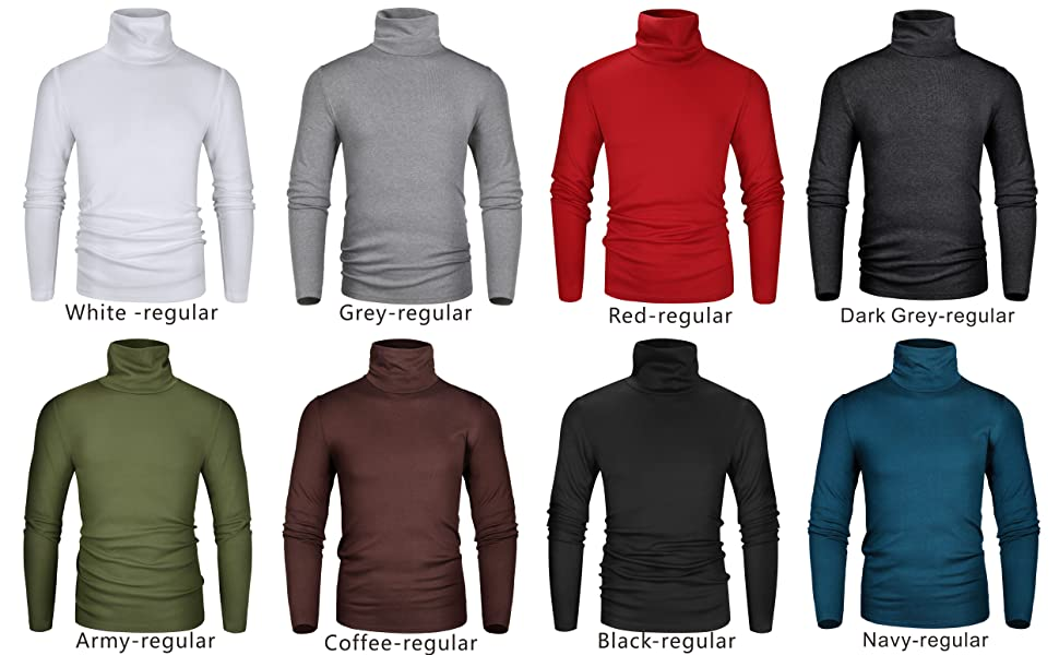Men's Slim Fit Soft Turtleneck Long Sleeve Pullover Thermal T-Shirt