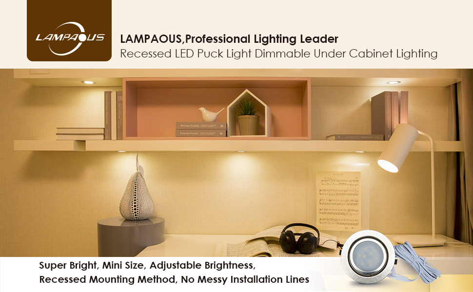 buy cheap 8d65a 4f689 LAMPAOUS Under Cabinet Lighting Dimmable LED Recessed ...