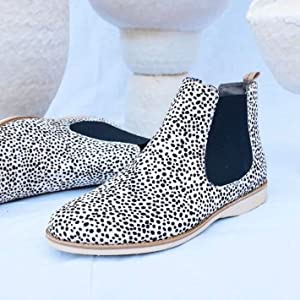 dc09233193b0 Animal Print Ankle Boots in Black and White Dalmatian Leopard Animal Print