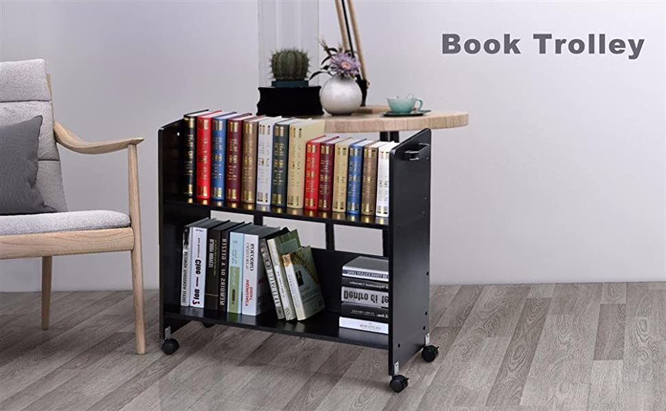 Movable Library Cart Welded Bookcase Rolling Book Storage Rack Trolley