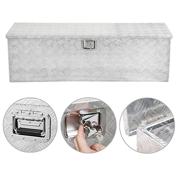 go2buy 49 Rectangular Aluminum Tool Box for Pickup Truck//Trailer Underbody Storage Toolbox with Lock Silver