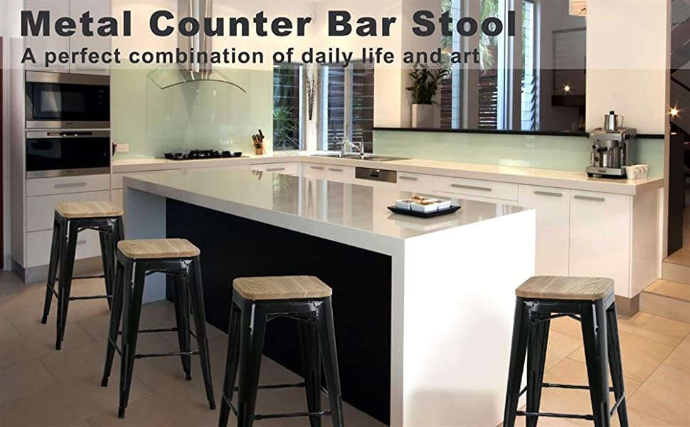 4pcs Metal Counter Bar Stool Kitchen Pub Barstool 26'' w/Wood Seat 331Lb Black